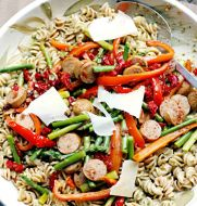 Chicken Sausage and Veggies over Pistachio Mint Pesto Pasta